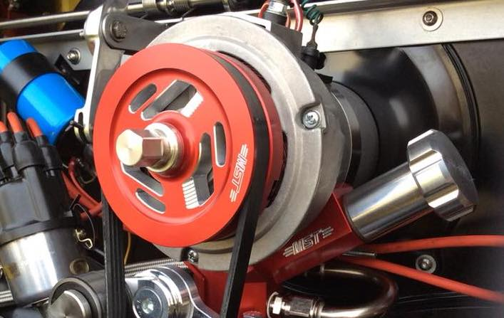 red pulley system